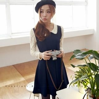 BAIMOMO - Lace-Sleeve Pleated Dress