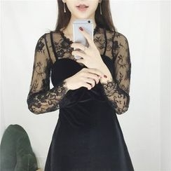 Shopherd - Long-Sleeve Lace Panel A-line Dress