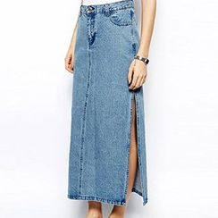 Isadora - Side Slit Denim Midi Skirt