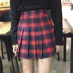 Shopherd - Pleated Plaid Skirt