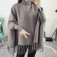 Emeline - Fringe Hem Turtleneck Cape Sweater