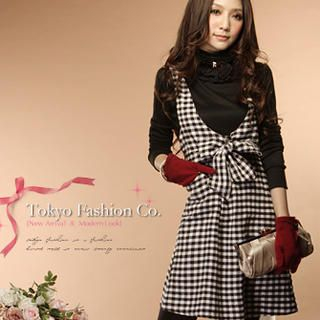 Tokyo Fashion - Bow-Front Check Jumper Dress
