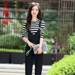 AiSun - Set: Stripe Long-Sleeve Top + Dungaree