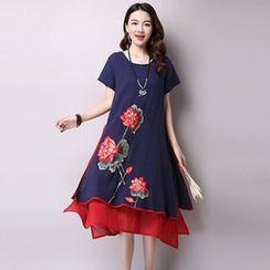 GLIT - 仿兩件刺繡短袖連衣裙