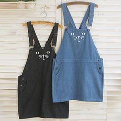 Usagi - Cat Print Denim Jumper Skirt