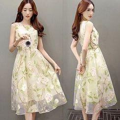 lilygirl - Floral Print Midi A-Line Dress