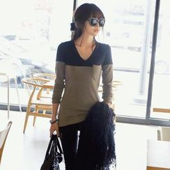 REDOPIN - Two-Tone Long-Sleeved T-Shirt