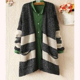 Ringnor - Batwing-Sleeve V-Neck Striped Knit Cardigan