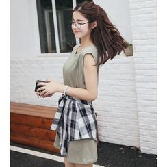 SUYISODA - Set: Tank Dress + Plaid Tie Waist Miniskirt