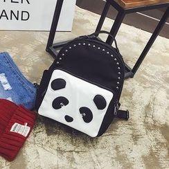 Pandabada - Panda-Accent Faux-Leather Backpack