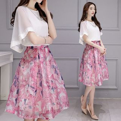 Ashlee - Set: Frill Sleeve Organza Top + Floral Print Skirt