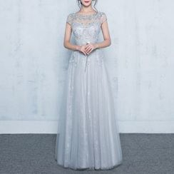 Luxury Style - Embellished Cap Sleeve A-Line Evening Gown