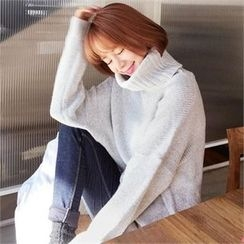 QNIGIRLS - Turtle-Neck Mélange Rib-Knit Sweater