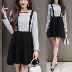 Mandalle - Cutout Mock Two-piece Long-Sleeve Dress
