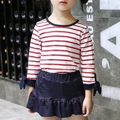 Matatabi - Kids Set: Lace-Up Striped Top + A-Line Skirt