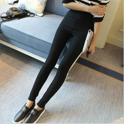 YAYAGREEN - High-Waist Skinny Pants