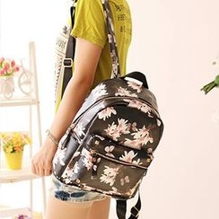 Canvas Love - Floral Print Faux Leather Backpack