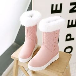 Pastel Pairs - Furry Trim Quilted Snow Boots
