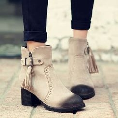 Pastel Pairs - Tasseled Brogue Chunky Heel Ankle Boots
