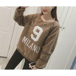 Eva Fashion - Embroidered Letter Fleece Sweatshirt
