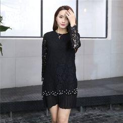 Romantica - Long-Sleeve Paneled Beaded Lace Dress