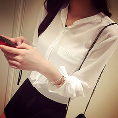Melon Juice - 3/4-Sleeve Chiffon Blouse