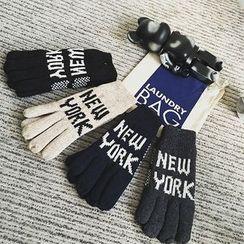 JUN.LEE - Lettering Knit Gloves