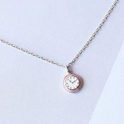 Blinglitz - Clock Sterling Silver Pendant Necklace