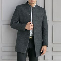 Cipher - Plain Stand Collar Woolen Coat