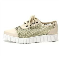 MODELSIS - Lace-Up Mesh-Detail Sneakers
