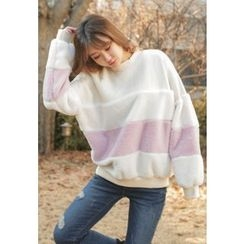 REDOPIN - Color-Block Faux-Fur Pullover