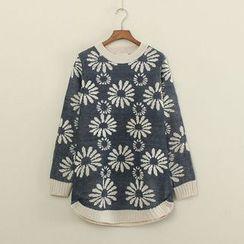 Mushi - Flower Pattern Long Sweater