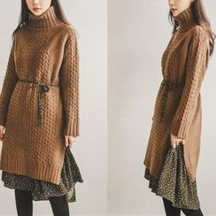 JUSTONE - Turtle-Neck Cable-Knit Dress