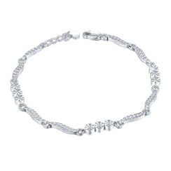 MaBelle - 14K White Gold Diamond Cut Triple Circle Beads With Wave Bracelet (17.5cm)