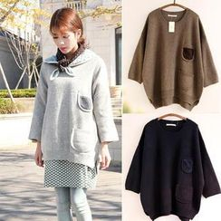 11.STREET - Plain Pocket-Accent Oversized Knit Top