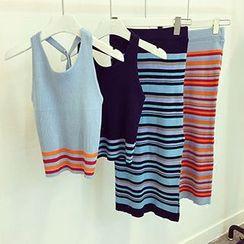 Always Azuka - Set: Striped Sleeveless Knit Top + Knit Midi Skirt