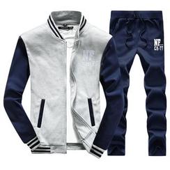 Maykor Jane - Set: Embroidered Zip Jacket + Sweatpants