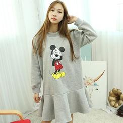 Dodostyle - Mickey Mouse Printed Ruffle-Hem Dress