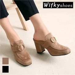 Wifky - Metal-Ring Faux-Suede Mules