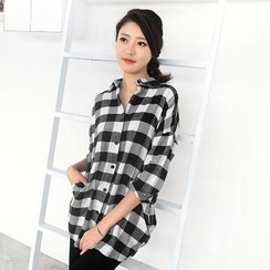 59 Seconds - Gingham Long Shirt