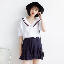 Forest Girl - 配色边饰褶领V领衬衫