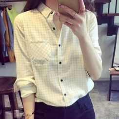 Neeya - 格紋麻布襯衫