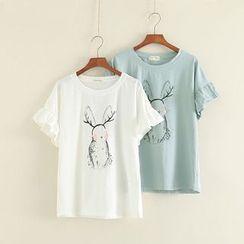 三木社 - 印花皺摺袖上衣