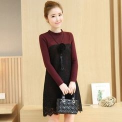 lilygirl - Lace Overlay Long Sleeve Dress