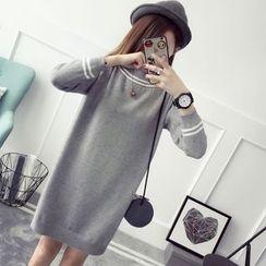 Qimi - 長袖條紋針織連衣裙