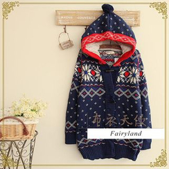 Fairyland - Hooded Nordic Print Cardigan