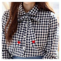 Sechuna - Tie-Neck Heart-Embroidered Gingham Shirt