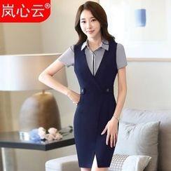 Skyheart - V-Neck Sleeveless Sheath Dress / Blazer / Dress Shirt