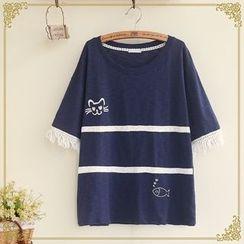 Fairyland - Short-Sleeve Fringe Trim T-Shirt