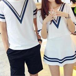 Fashion Street - Couple Matching Short-Sleeve T-Shirt / + Skirt